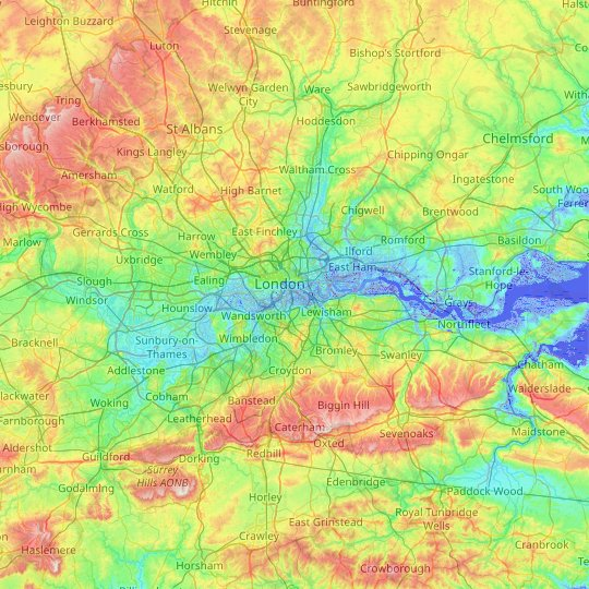 Mappa topografica Greater London, altitudine, rilievo